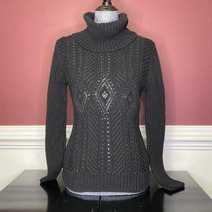 Talbots black knit sequins cowl neck sweater sz MP